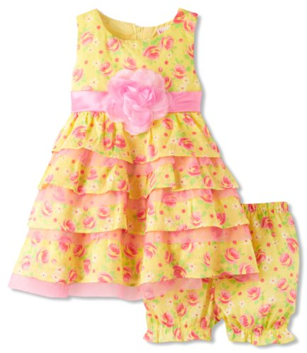Young Hearts Baby-Girls Infant 2 Piece Floral Printed Ruffle Dress Set, Light Pastel Yellow, 18 Months