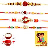 Gomati Ethnic Handcrafted 4 Pc Fancy Rakhi N Greeting Card Gift Rakhi For Brother With Gift Combo And Rakhi For Bhaiya Bhabhi Combo Free Shipping+Roli+Chawal+Greeting Card !!-4Rgs243