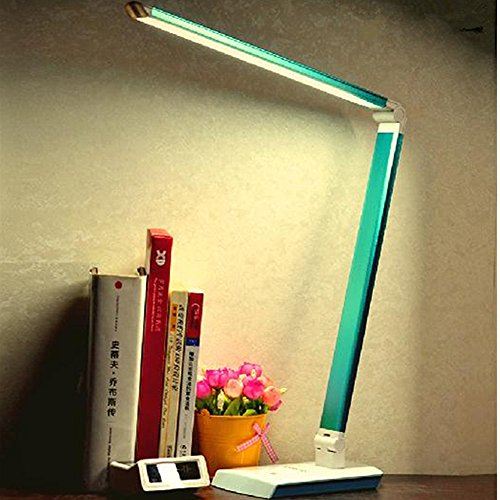 Time Sino Led Lights 4-Level Dimmable 2-Kinds Light(Warm/White), Lamp Beads High Brightness Table Lamp,Folding Protect Your Eyes Desk Lamps 10 Watt,Blue front-29854