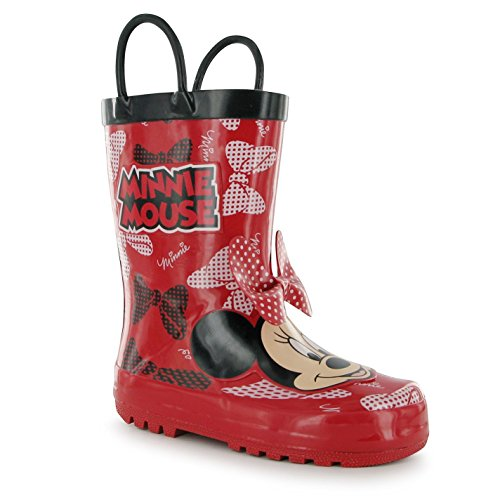 Disney Minnie Mouse Stivali Bambini Rosso Wellies Stivali gomma stivali, Red, (UK C7) (EU24)
