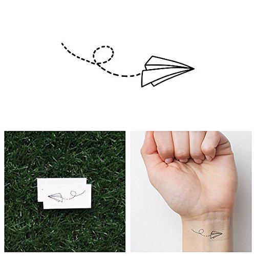 Tattify Tatouages Temporaires Avion En Papier - Volez Comme Du Papier (Set de 4)