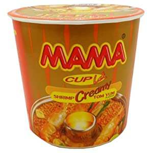 Mama Instant Cup Noodles Creamy Tom Yum Shrimp Flavor Thai Original Spicy Net Wt 42 G (1.48 Oz) X 6 Cups by President Rice Products Public Company Limited. Thailand
