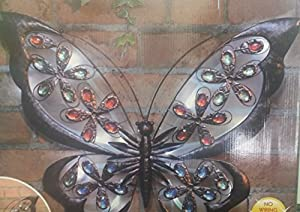 Hk: Large Solar Powered Metal Jewelled Butterfly Wall Art