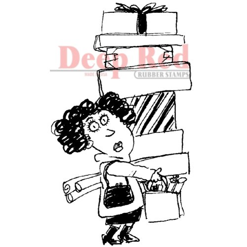 Deep Red Stamps Holiday Shopper Rubber Stamp - 1