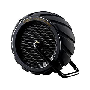 AUKEY Altavoz portátil Bluetooth inalámbrico impermeable al aire libre speaker de subgraves, micrófono incorporado, Perfiles A2DP diseño fresco del neumático para smartphones, ordenador, etc. (SK-M4 Negro)