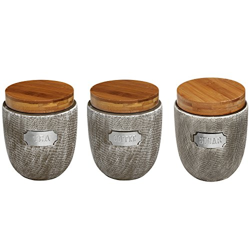 Set Of 3 Ceramic Grey Airtight Canister Jars With Bamboo Lids Coffee Tea Sugar Storage
