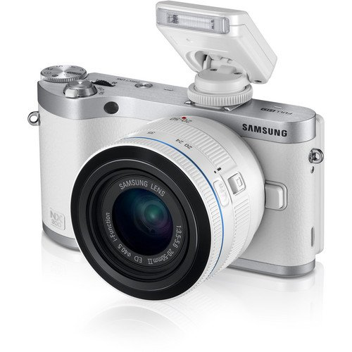 "Samsung Nx300M 20.3Mp Cmos Smart Wifi & Nfc Compact Interchangeable Lens Digital Camera 3.3"" Amoled Touch Screen (White, With 20-50 Lens)"