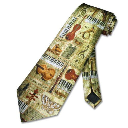 Musical Instruments Religious 100% SILK Neck Tie. Men's NeckTie.