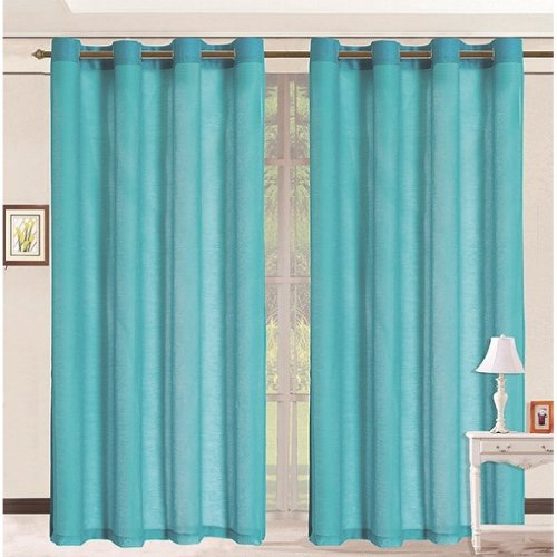 HLC.ME Pair of Aqua Sheer Curtain Grommet Panels - 54 by 84 Inch at Sears.com