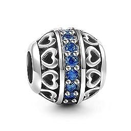 Soufeel 925 Sterling Silver Dark Blue September Birthstone Charm Fit European Bracelets