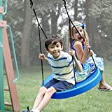 (Blue) Tire Swing, Super Spinner FUN Child Swing, Belt Disc, For Easy Swing Set Or Tree Install
