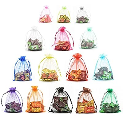 Halulu 100pcs Organza Jewelry Pouch Bags Display Drawstring Wedding Party Festival Gift Candy Bags