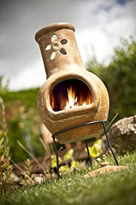 La Hacienda Clay Chiminea With Flower Cut Out Design Patio Heater by La Hacienda