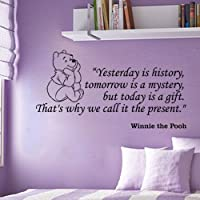 Winnie the Pooh Yesterday Is History Wall Quote Vinyl Wall Art Decal Sticker by VM Reigns
