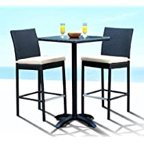 Outdoor Patio Wicker Furniture New Resin 3 Pc Bar Table & Barstool Set