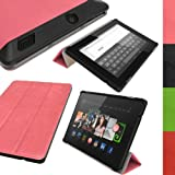 IGadgitz Luxury Smart Cover Pink PU Leather Case for Amazon Kindle Fire HD 7.0