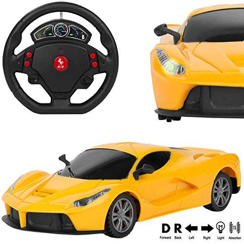 RC Remote Control Sporty Yellow Lamborghini Murcielago Sport Car [1:24 Scale] w/ Motion Steering Wheel Sensor Controller (Go Forward & Backward, Turn Left & Right)