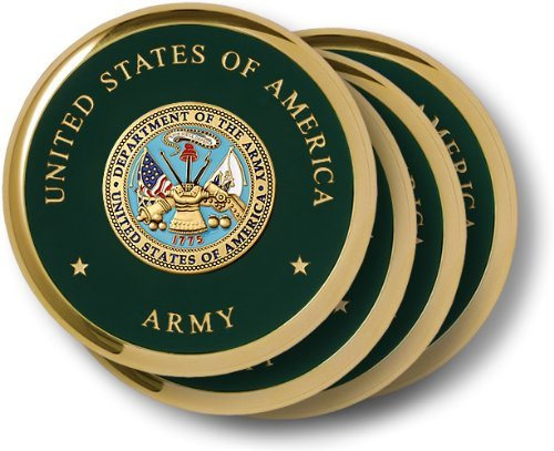 Army Seal Brass 4 Coaster Set (Army Seal compare prices)