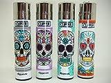 4 x Colourful Skull Design Clipper Lighters, Clipper Lighter, Gas Lighter
