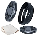 Just·Now® 58mm Camera Tilted Vented Metal Lens Hood + Cleaning Cloth + 2pcs Lens Cap(58mm suit for Lens,67mm suit for Lens Hood) for Standard Thread Lens