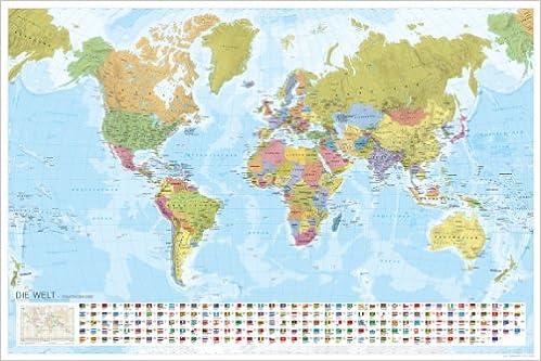 Weltkarte - Staaten der Erde mit Flaggen (politisch) 1:35 Mio ...