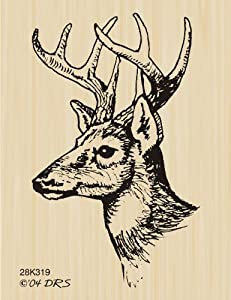 Buck Bust Rubber Stamp By DRS Designs