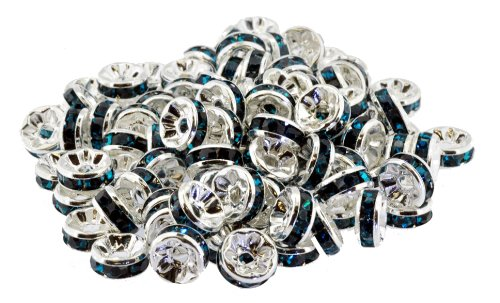 100 Pieces 8mm Aqua Silver Plated Swarovski Crystal