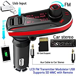 Evana Dual USB Charger + Car Digital MP3 Player + FM Transmitter Modulator + LCD Display - 2 USB Ports SD MMC with Remote & TF Slot - Black/Red, Can connect to car stereo by aux cable