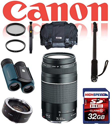 Canon Ef 75-300Mm F/4.0-5.6 Iii Lens Deluxe Safari Kit W/ Monopod, Gadget Bag, 32Gb, Waterproof Binoculars 8X21