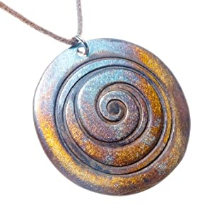 Spiral iridescent Pendant Necklace on adjustable natural fiber cord