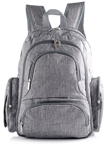 Travel Backpack Diaper Bag with Free Insulated Sleeve, Changing Pad & Stroller Straps | Multiple Thermal Retaining Pouches | Best Organized Toddler & Baby Backpack for Men & Women (Light Grey)