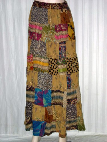 Skirts for Girls  Earthy Brown Block Print Patchwork Long Gypsy Bohemian Tiered Skirt Free Shipping