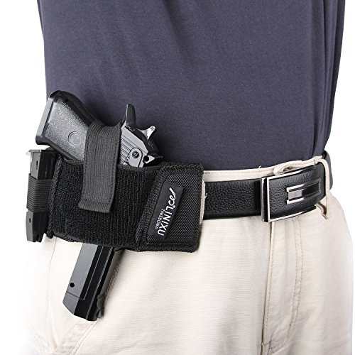 LINIXU Ambidextrous Flat Belt/Belt Slide Holster Black Nylon (Gun Wallet Holster compare prices)
