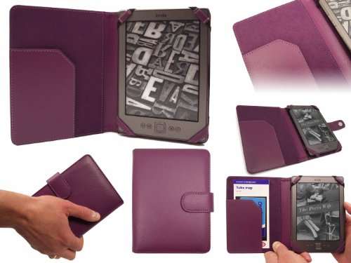 New Kindle Purple SD Folio Case Cover Pouch with FREE Clip-On LED Reading Lamp for New Amazon Kindle 4, All - New Latest Generation 2011 Release Amazon Kindle 6