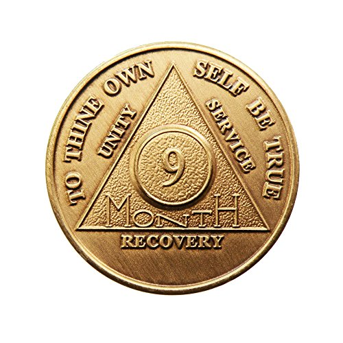 9 Month Bronze AA (Alcoholics Anonymous) - Sober / Sobriety / Birthday / Anniversary / Recovery / Medallion / Coin / Chip by Generic