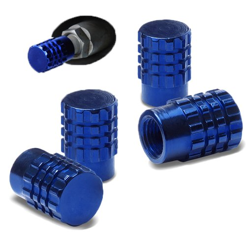 Oneself (Tm) Blue Aluminum Custom Series (4 Pack - Metal 3 Ring Cog Design) Valve Stem Cap Seal For Bicycle, Motorcycle, Car And Truck Tires (High Quality Anodized Metal Tyre Cap + Durable Metal Threads + Powder-Coated Finish For Rust And Tarnish Proof Du