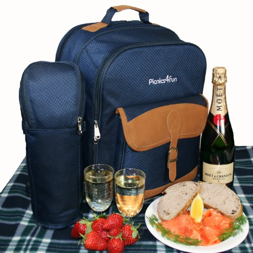 Picnic Backpack Set for 4 Flask Mugs, Rug Buchanan Deluxe
