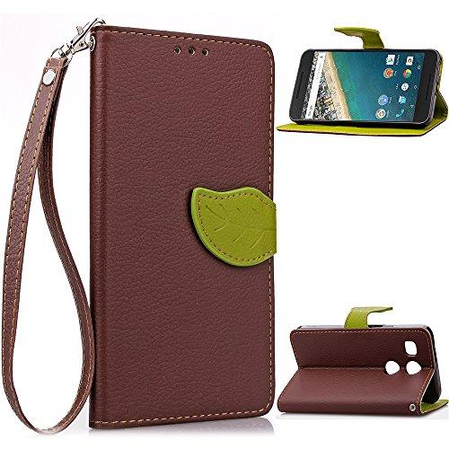Ecoway Schutzhülle / Cover / Handyhülle / Etui für LG Google Nexus 5X Blatt Magnet Muster Design Folio PU Leder Tasche Case Hülle im Bookstyle mit Standfunktion Kredit Kartenfächer - Braun / grün