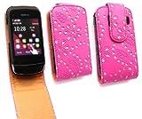 Emartbuy Nokia C2-02 Diamante Premium Cerise Pink / Tan Flip Case/Cover/ Pouch