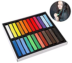 PIGLOO Hair Chalks - 24 Non Toxic Temporary Hair Colouring Soft Pastels