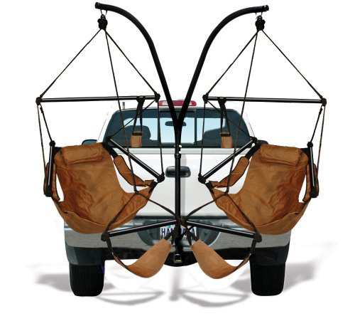 Trailer Hitch Stand and Hammock Chair Combo Color: Natural Tan, Dowels: Aluminum