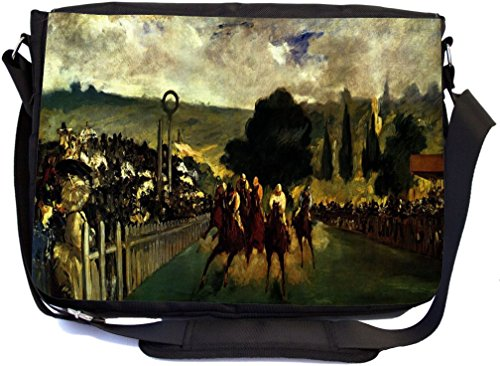"Rikki Knight LLC discount duty free UKBK Claude Monet Art Race at Longchamp - Crossover Messenger Bag - Book Bag - with padded pockets for Laptops & Tablets up to 14.5"" and Matching Pencil Case"