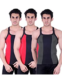 Zimfit Gym Vest - Pack Of 3 (Green_Red_Red) - B01AO0M5C6
