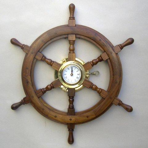 Wooden Ship Wheel Clock 24