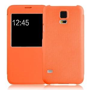 JAMMYLIZARD | Fenster Flip Case Hülle für Samsung Galaxy S5, ORANGE
