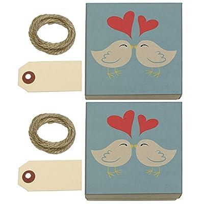 Sweet Kissing Birds in Love Blue Kraft Gift Boxes Set of 2