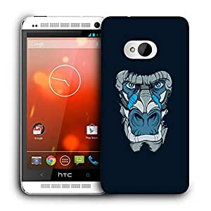 Snoogg Abstract Monkey Face Designer Protective Back Case Cover For HTC ONE M7