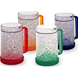 Lily's Home Double Wall Gel Freezer Mug - Set of 4 - Red, Orange, Blue, Green. 16 oz each