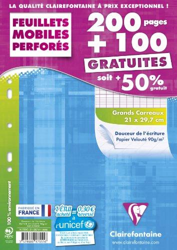 Clairefontaine - 17551c - Feuillets Mobiles Séyès - Grand Carreaux - Blanc