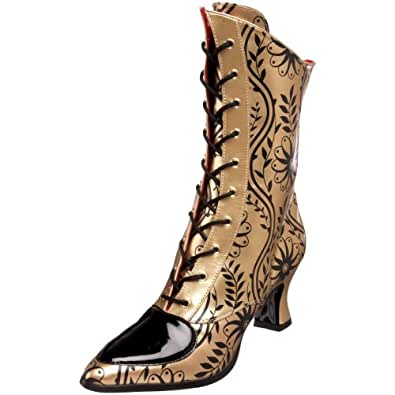 Funtasma by Pleaser Women's Victorian-45 Boot,Gold/Black Pu,9 M US